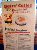 Bear's Coffee Menu 1