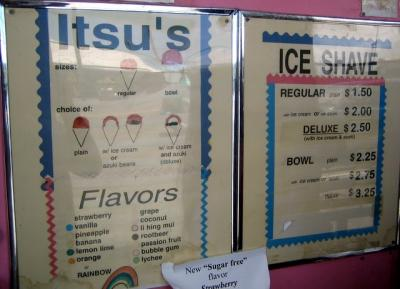Itsu's Ice Shave Menu