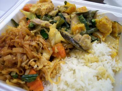 Pad Thai and Red Curry Chicken